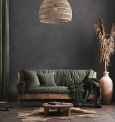 Living room interior, ethnic style, 3d render