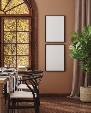 Mock up frame in cozy modern dining room interior, 3d render