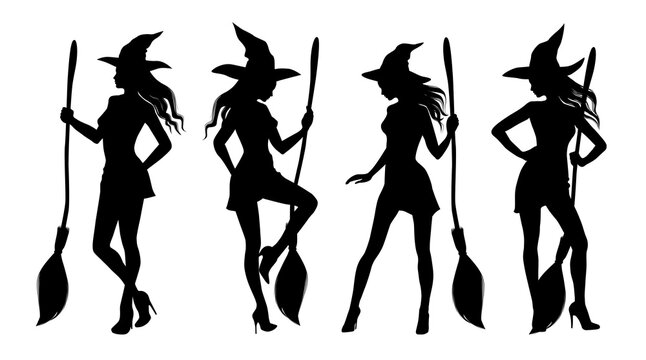 Silhouette of sexy woman wearing witches hat and holding a broom. Pretty girl with besom dressed as a witch for Halloween party. Set of vector illustrations.