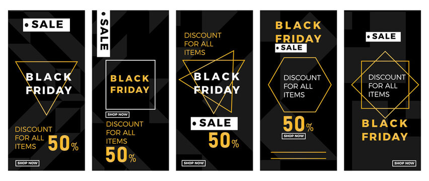 Black Friday sale banner set. Black Friday sales 50% discount banner design template for social media story, web, and print advertisement. Vector illustration.