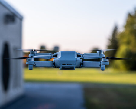 DJI Mavic Mini Drone In Flight Shallow Depth of Field