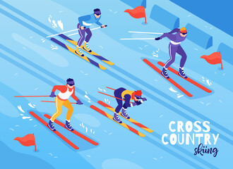Skiing Isometric Composition