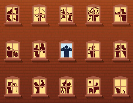 Loud neighbors behind windows - annoyed man covers his ears - brickwall house with people that make various kinds of noise - vector illustration.