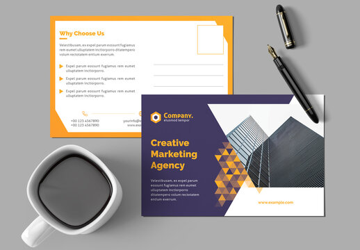 Postcard Layout with Yellow Gradient Triangle Elements