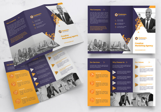 Trifold Brochure Layout with Yellow Gradient Triangle Elements