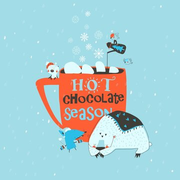 Funny cartoon animals sitting near big red cup with cocoa and marshmallow