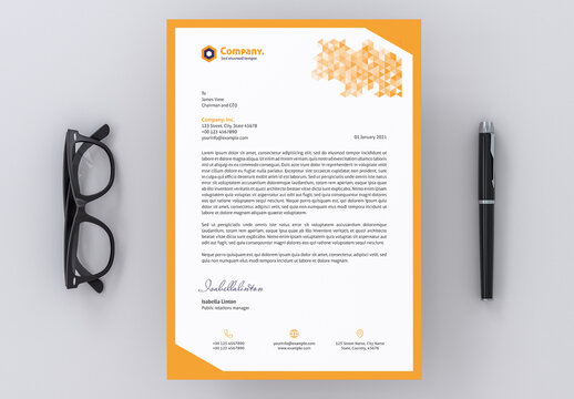 Letterhead Layout with Yellow Gradient Triangle Elements
