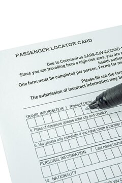 A blank covid 19 coronavirus passenger track and trace locator card