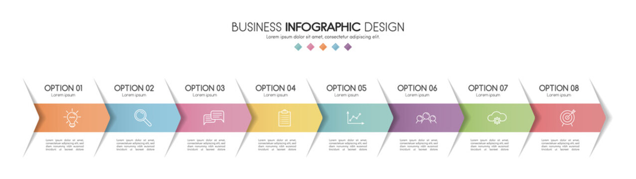 Colourful infographic with 8 steps and business icons. Diagram. Vector