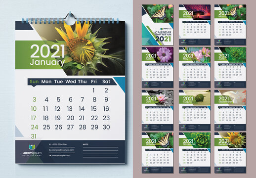 Calendar 2021 with Blue Abstract Layout Design