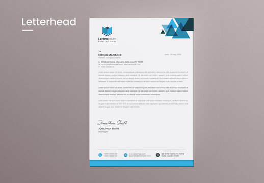 Clean Letterhead Layout with Blue Abstract