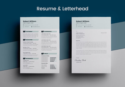 Clean Minimal Resume Layout & Letterhead Design Pack