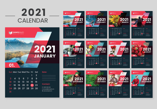 2021 Dark Wall Calendar Layout