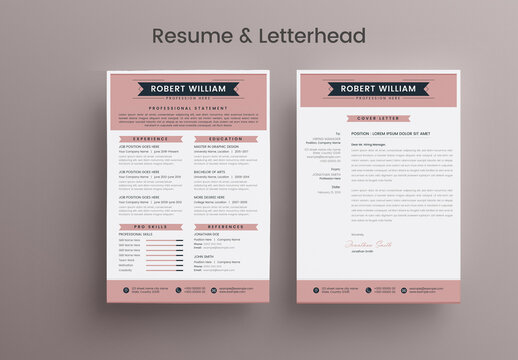 Resume & Letterhead Layout with Pink Accents