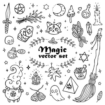 Modern magic set with witchcraft elements. Hand-drawn vector outline illustration. Perfect for stickers, cards, tattoo, print, textile designs.