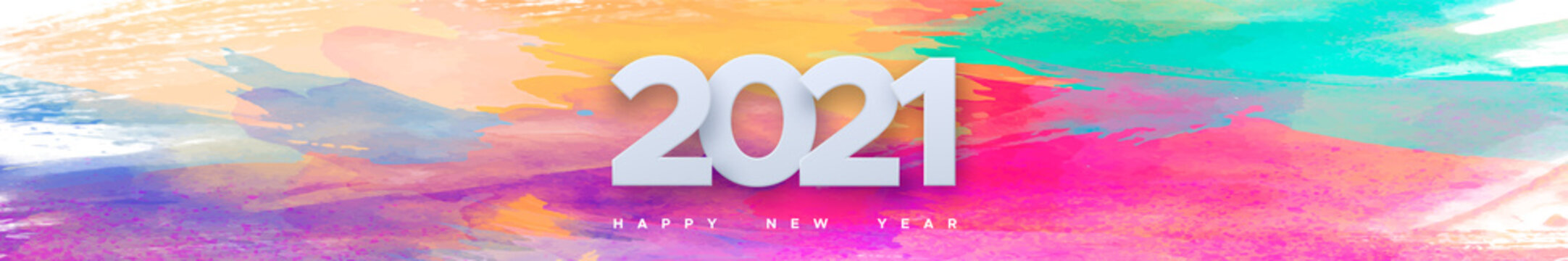 Coming 2021 with new year wish on watercolor background