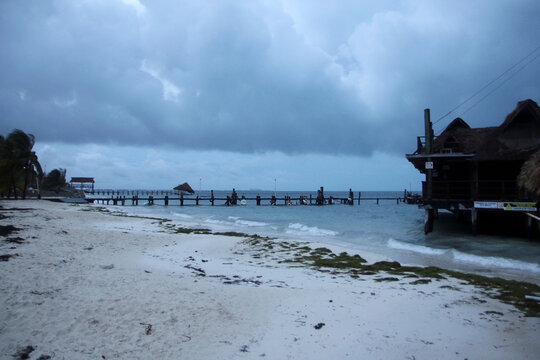 A general view shows an empty beach as Hurricane Delta approaches Cancun, Mexico