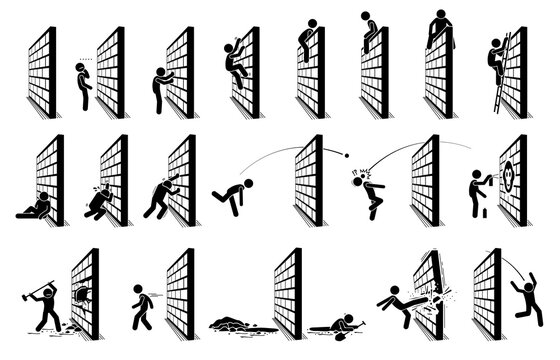 Man with a wall stick figure pictogram icons. Vector illustration concept of challenge, road block, and hurdle.