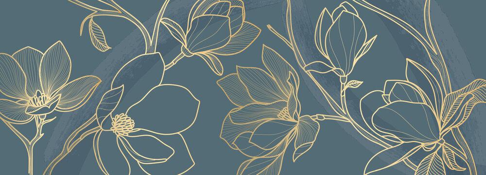 Luxury green magnolia background vector with golden metallic decorate wall art