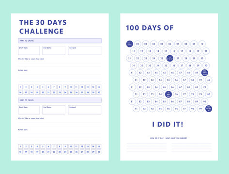 Set of habit 30 Days and 100 Days challenge planner sheets. Clear and simple printable to do list. Business organizer page. Paper sheet.