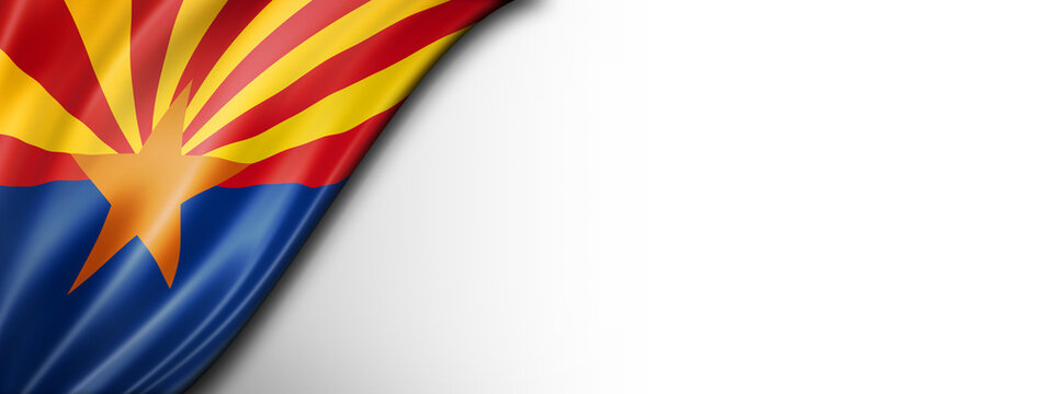 Arizona flag on white wall banner, USA