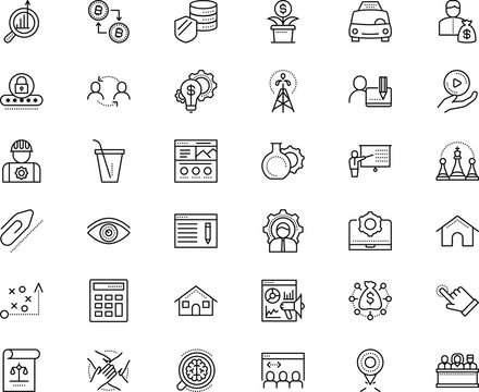 business vector icon set such as: paperclip, app, sight, taxi, review, mobile, crowd, income, oil, ripple, player, win, privacy, place, genius, tactical, justice, state, freelancer, analyzing, job