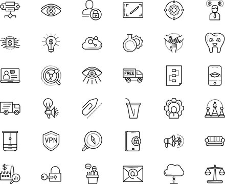 business vector icon set such as: plant, east, to, speaker, locker, programming, gadgets, stroke, newsletter, token, ecology, comic, juice, pad, supervisor, travel, style, template, contour, fastener