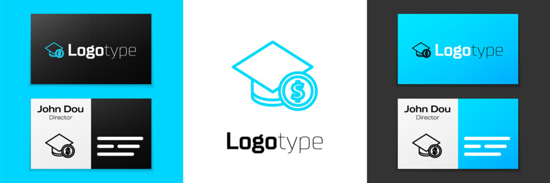 Blue line Graduation cap and coin icon isolated on white background. Education and money. Concept of scholarship cost or loan, tuition or study fee. Logo design template element. Vector..