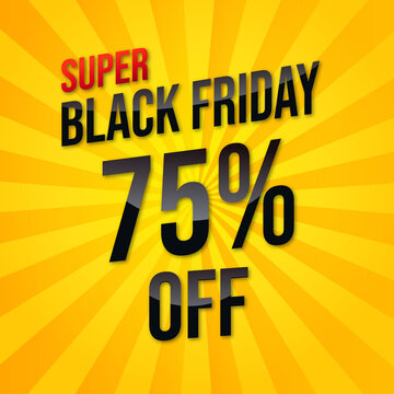 Black Friday salebanner with super discount vector template