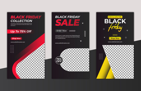 Black Friday Instagram story with special offer vector template