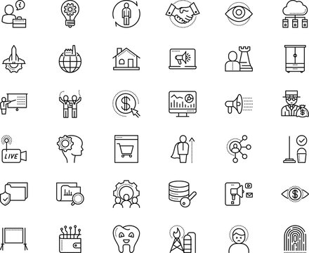business vector icon set such as: cabinet, bankrupt, start, iris, television, shopping, clinic, shine, friendship, cleaner, stream, winner, successful, teacher, room, magnifier, storage, partner