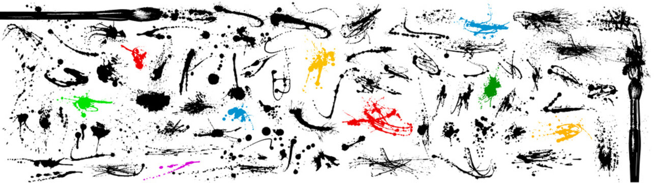 Large collection of ink stains and splashes. Hand painted with brush. Drops, spilled liquid.