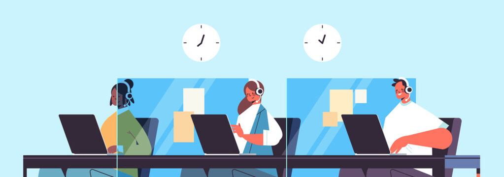 operators with headset chatting with clients call center agents working in office customer support service concept horizontal portrait vector illustration