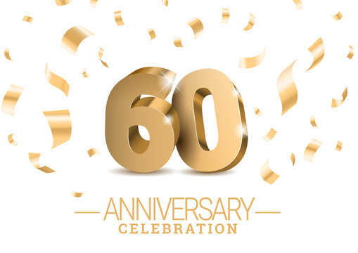 Anniversary 60. gold 3d dancing numbers. Poster template for Celebrating 60th anniversary event party. Vector illustration