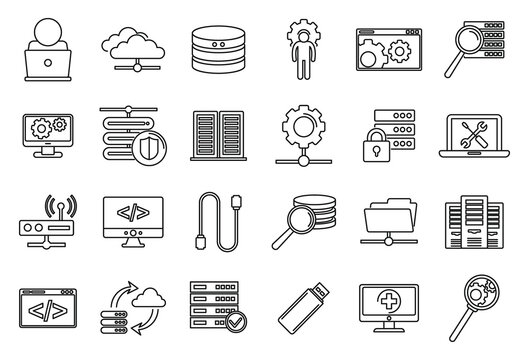 Company it administrator icons set. Outline set of company it administrator vector icons for web design isolated on white background