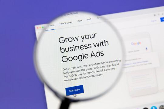 Ostersund, Sweden - October 7, 2020 Google Ads website under a magnifying glass. Google Ads is an online advertising platform developed by Google.