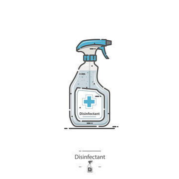 Disinfectant Spray Bottle - Line color icon