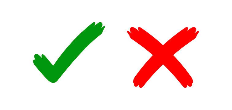 check mark sign right and wrong for vote, tick and cross sign handwritten, checklist for approved or voting, checkmark and x scribble style, red green voting symbol