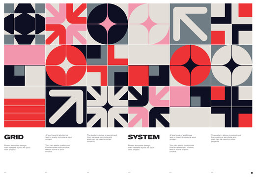 Swiss Poster Design Template With Abstract Geometric Shapes