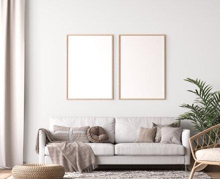 Frame mockup in living room design, two wooden frames in Scandinavian interior