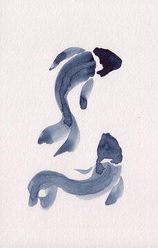 Watercolor painting of two fishes in Chinese ink technique. Oriental style illustration for decoration, relaxation & restoration. Ideally sits for Asian shop, restaurant tattoo. Monochrome fish pic.
