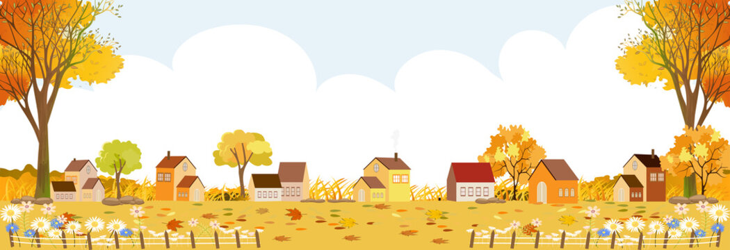 Autumn landscape in village with copy space, Vector illustration Flat design rural landscape in country with farm house, Village scene country panorama view in Fall season