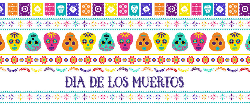 Day of the dead, Dia de los muertos, banner with traditional colorful Mexican icons. Fiesta, holiday poster, party flyer, funny greeting card. Horizontal web banner