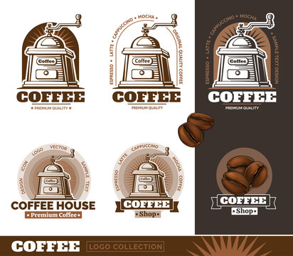 Vintage Coffee Mill and coffee beans logos. Vector Illustration.