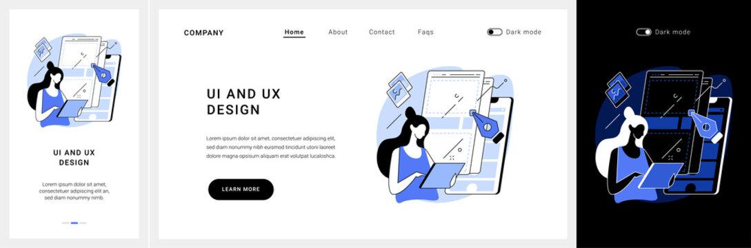 UI and UX design website UI kit. Mobile app UI design, website UX, user interface, interaction experience, web development, menu bar, studio portfolio page landing and mobile app vector UI template.