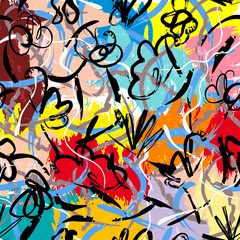 abstract background composition, with paint strokes, splashes and waves
