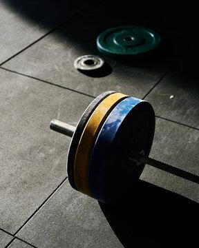 Dumbbell heavy discs on floor in gym