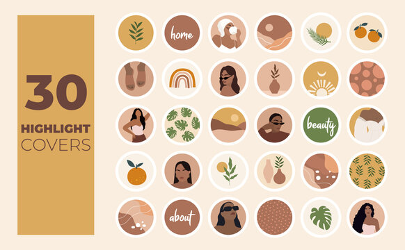 Instagram Highlights cover icons. Boho style. Abstract. Fashion and style. Vector