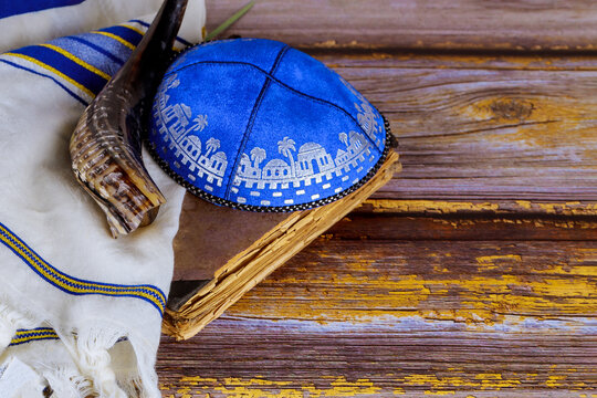 Orthodox Jewish prays shawl tallit and shofar jewish religious symbol prayer torah