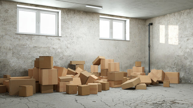 Lots of cardboard boxes mixed up in the basement or storage room